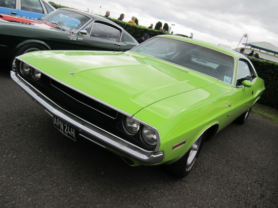 Lime green Dodge Challenger stood out