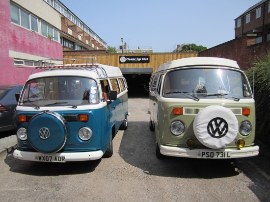 2007 Brazilian T2 (left) next to original 1973 Camper (Right)